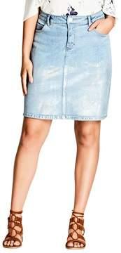 City Chic Plus Size Women's Mirror Denim Skirt