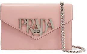 Prada Logo Liberty Leather Shoulder Bag - Pink