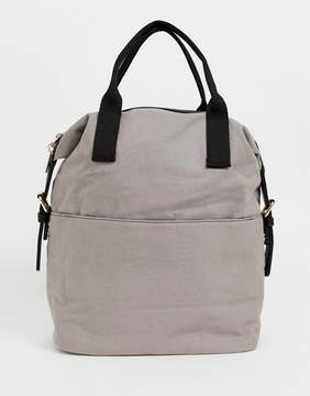 Asos DESIGN zip over canvas backpack with double handle
