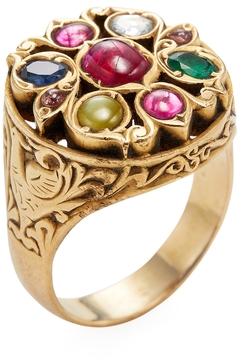 Amrapali Women's 22K Yellow Gold & Navratna Stone Cocktail Ring