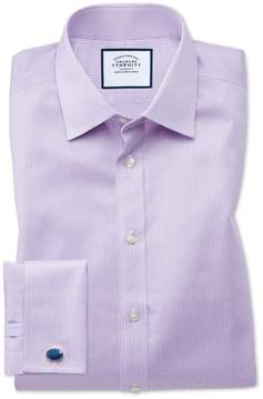 Charles Tyrwhitt Slim Fit Non-Iron Puppytooth Lilac Cotton Dress Shirt French Cuff Size 14.5/33
