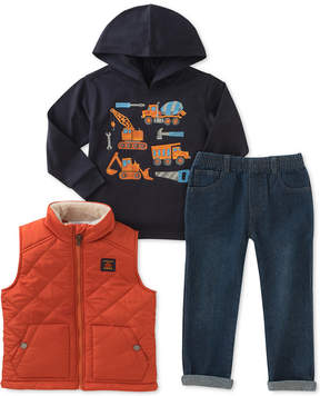 Kids Headquarters 3-Pc. Vest, Graphic Hoodie & Jeans Set, Baby Boys (0-24 months)