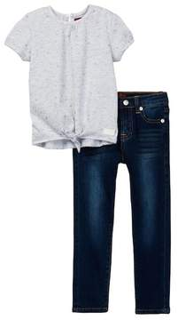 7 For All Mankind Tie Front Tee & Skinny Jean Set (Toddler Girls)