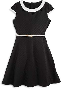 Us Angels Girls' Textured Dress with Cutout Details - Big Kid