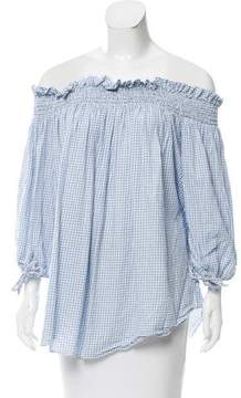 Caroline Constas Gingham Printed Off-The-Shoulder Top