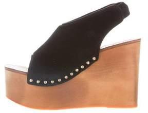 Celine Velvet Stud-Embellished Wedges
