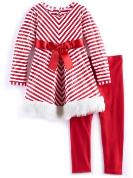Bonnie Jean Girls 4-6x Striped Dress & Legging Set