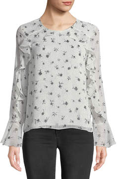 Cynthia Steffe Cece By Speckled Ruffle-Trim Long-Sleeve Blouse