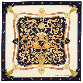 Aspinal of London Signature Shield Silk Scarf In Navy