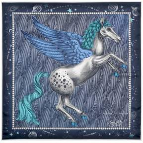 Aspinal of London Pegasus Feather Silk Twill Scarf In Midnight Blue 35 X 35