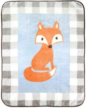 Luvable Friends Gray Gingham Fox Stroller Blanket