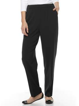 Croft & Barrow Women's Straight-Fit Ruched Polished Pull-On Pants