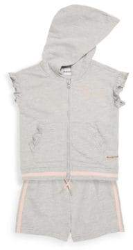 Hudson Baby Girl's Two-Piece Rise & Play Hoodie & Shorts Set
