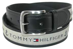 Tommy Hilfiger Men's Leather Casual Belt with Fabric Inlay, 36, Black with Natural Inlay