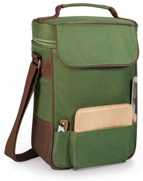 Picnic Time Duet Wine Tote - Green