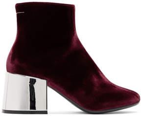 Maison Margiela Burgundy Velvet Cube Heel Boots