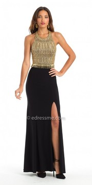 Camille La Vie Beaded Halter Two Piece Evening Dress