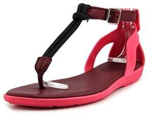 Hunter Elastic T-bar Sandal Women Open Toe Synthetic Pink Thong Sandal.
