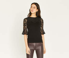 Oasis LACE SLEEVE KNIT