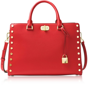 Michael Kors Sylvie Stud Large Bright Red Leather Satchel Bag - ONE COLOR - STYLE