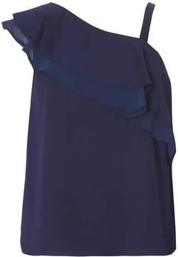 Dorothy Perkins Navy One Shoulder Ruffle Top