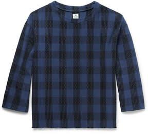 SASQUATCHfabrix. Sashiko Embroidered Checked Cotton T-Shirt
