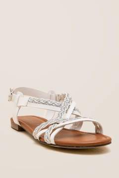 Unisa Kinda Braided Metallic Gladiator Sandal - White
