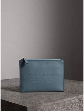 Burberry Embossed Leather Ziparound Pouch and Coin Case