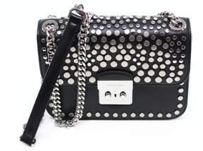 Michael Kors Black Silver Leather Medium Sloan Chain Shoulder Bag - BLACKS - STYLE