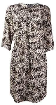 Vince Camuto Women's Animal Print Drawstring Dress (2, Rich Black)