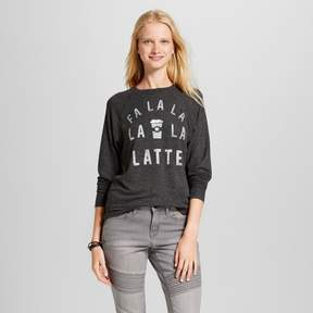 Fifth Sun Women's Fa La La Latte Long Sleeve Graphic Sweatshirt Juniors') Charcoal