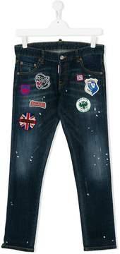 DSQUARED2 Teen patch applique jeans
