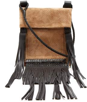 Saint Laurent Fringed-leather suede cross-body bag