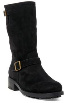 Ralph Lauren Darcie Oiled Suede Moto Boot Black 11.5
