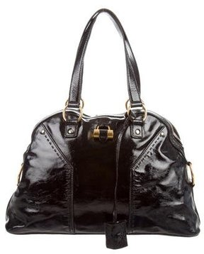 Saint Laurent Patent Leather Muse Tote - BLACK - STYLE