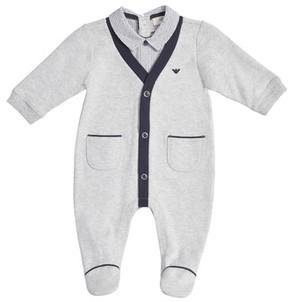 Armani Junior Infant Boy's Shirt & Cardigan Footie