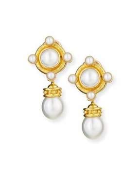 Elizabeth Locke 18k Pearl Earrings with Detachable Drop
