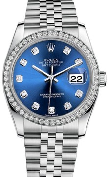 Rolex Datejust Stainless Steel Custom Diamond Bezel & Blue Diamond Dial Jubilee Bracelet Watch