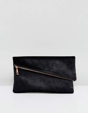 Asos Velvet Snake Square Clutch Bag With Slanted Zip Top