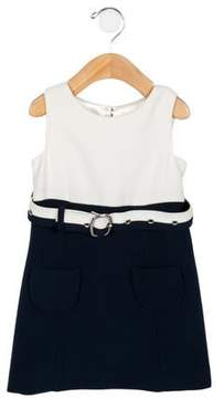 Milly Girls' Two-Tone Belted Dress