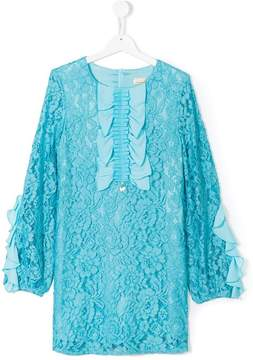 Elisabetta Franchi La Mia Bambina ruffled front lace dress