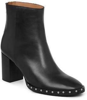 AllSaints Women's Inez Leather Studded Block Heel Booties