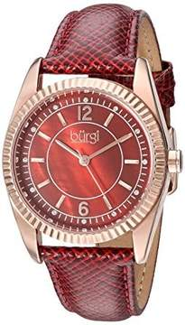 Burgi Brown Mother Of Pearl Dial Ladies Leather Watch