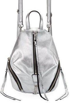 Rebecca Minkoff Julian Convertible Metallic Mini Backpack - SILVER - STYLE