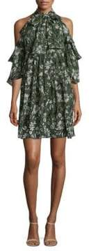 Shoshanna Hana Silk Cold-Shoulder Dress