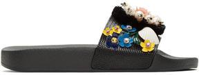 Dolce & Gabbana Black Flower Slide Sandals
