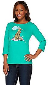 Bob Mackie As Is Bob Mackie's 3/4 Sleeve Jeweled Novelty Cheetah Printed T-shirt