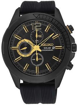 Seiko Recraft Mens Black Rubber Strap Solar Chronograph Watch SSC385