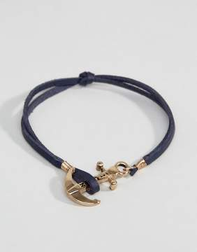ICON BRAND Leather Anchor Bracelet In Navy