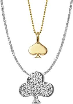 Alex Woo Women's 14K Yellow Gold, White Gold and Diamonds Vegas Spade and Club Necklace